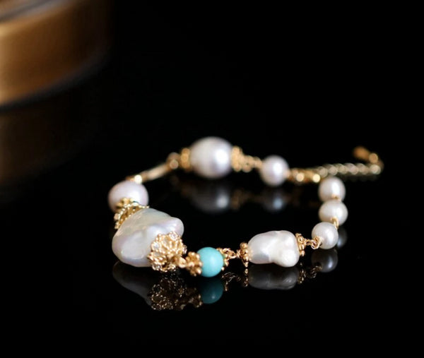 Handmade Baroque Pearl Adjustable Bracelet -  200001687 - ShaadiMagic