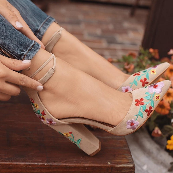 Embroidery Flower Ankle Strap Shoes -  200001012 - ShaadiMagic