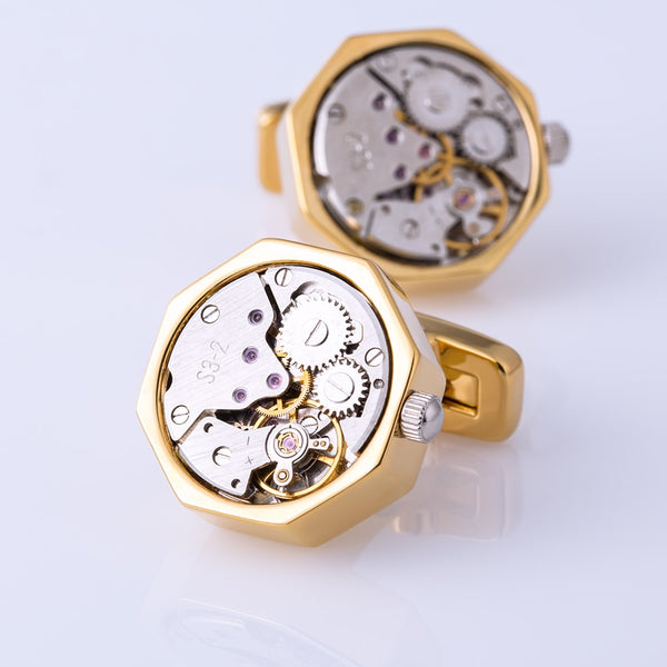 Gold Color Watch Movement Cuff Link -  200000175 - ShaadiMagic
