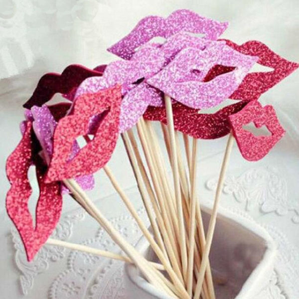 10 Pc. Funny Red Lips Photo Booth Prop -  200220143 - ShaadiMagic