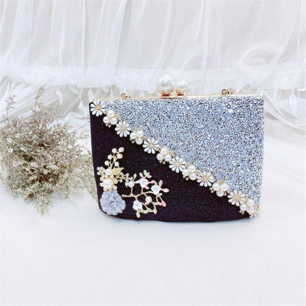 Pearl Patchwork Scrub Evening Bag -  100002856 - ShaadiMagic