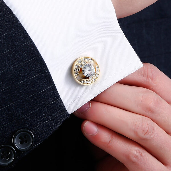 Luxury Gold Mens Cufflinks with Crystal Wedding French Shirt Cuff links Sleeve Buttons Men's Jewelry Accessories Design Cuffs -  200000175 - ShaadiMagic