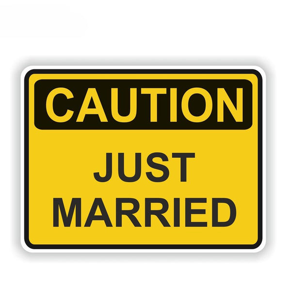 CAUTION JUST MARRIED Car Sticker -  200000241 - ShaadiMagic