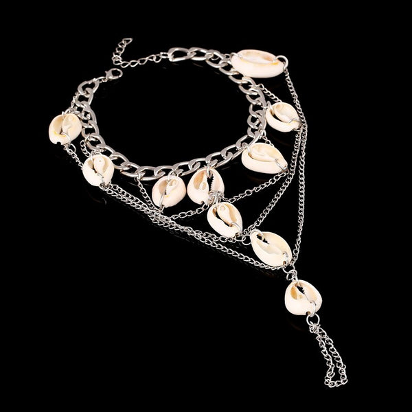Silver Stamped Multi-layer Toe Anklet -  200000141 - ShaadiMagic