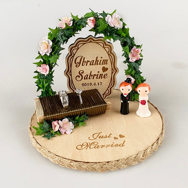 Personalized Engagement Bride Groom Ring Tray -  200220143 - ShaadiMagic
