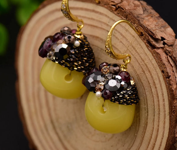 Caramel Yellow Stone Drop Earrings -  200001692 - ShaadiMagic