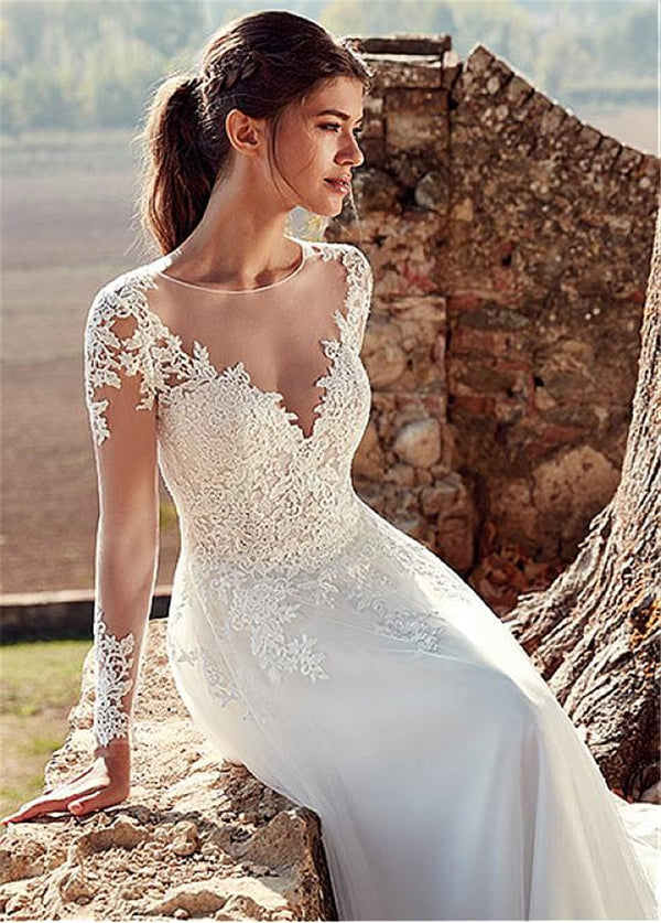 Illusion Back Lace A-line Bride Dress