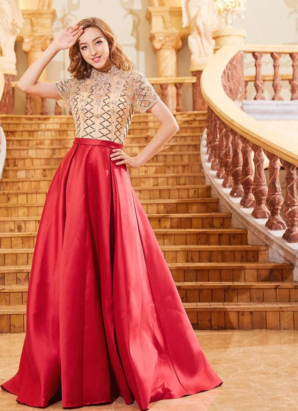 High Neck Tulle Beading Sequined Long Evening Dresses Half Sleeves Satin Dress Sexy Illusion Rose Red Prom Gowns 2019 OL103293 -  32004 - ShaadiMagic