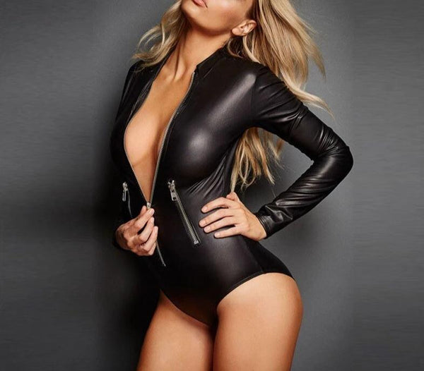 SAROOSY Leather Bodysuit Women Sexy Moto Style High Elastic Latex Jumpsuit Clubwear Openable Double Zipper Jumpsuit 2019 New -  200001800 - ShaadiMagic