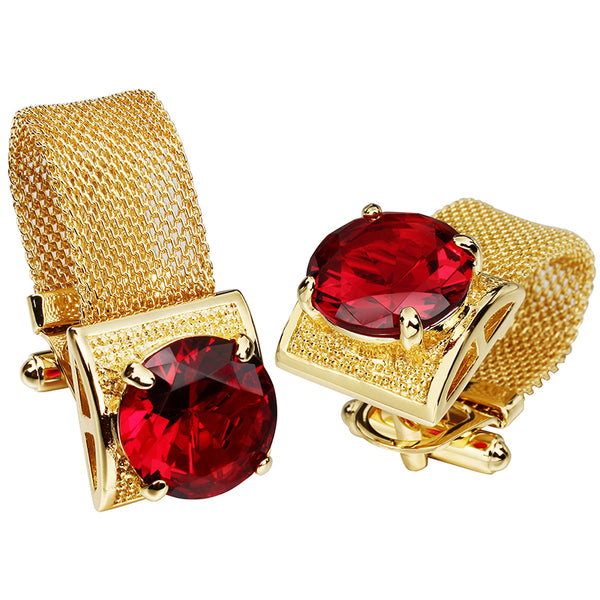 Stone and Shiny Gold Chain Cufflinks -  200000175 - ShaadiMagic