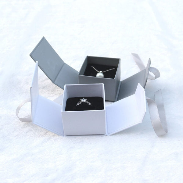 Paper Gray White Color Ribbon Jewelry Box -  200001479 - ShaadiMagic