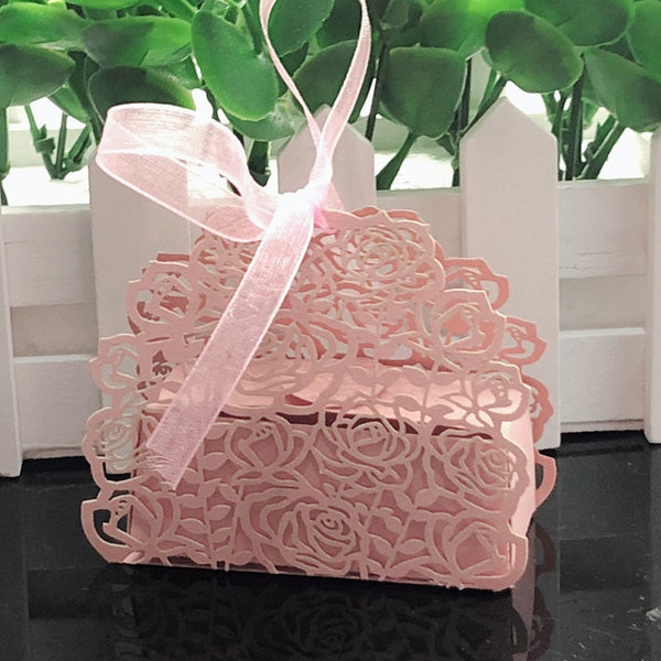 10 Pc. Rose Flower Shaped Laser Cut Gift Bags -  200223144 - ShaadiMagic
