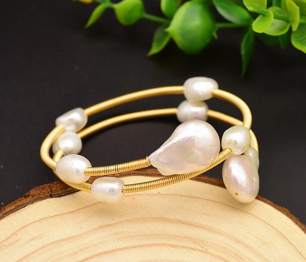 Handmade Baroque Pearl Double Layer Adjustable Bangle -  200001687 - ShaadiMagic