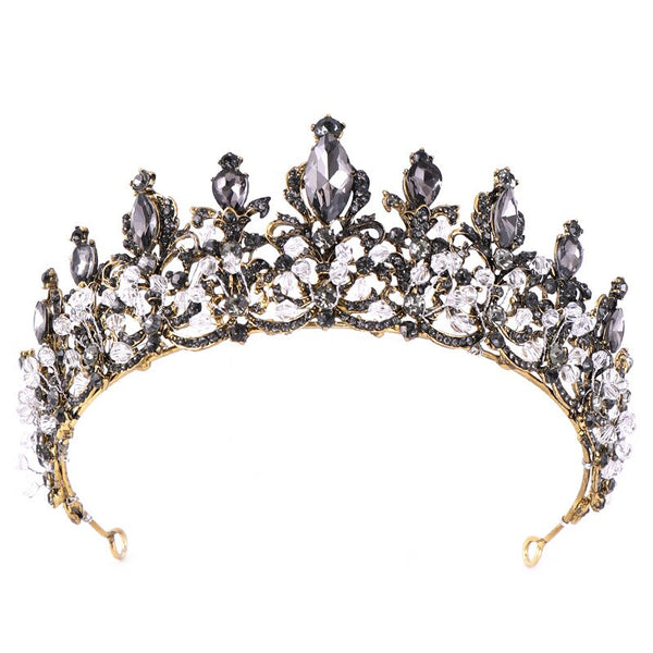 Baroque Black Crystal Beaded Bridal Tiara