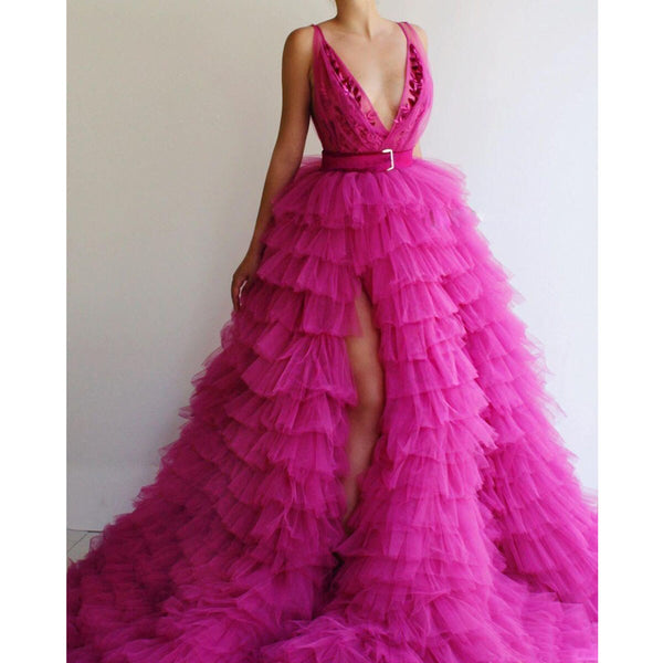 Fuchsia Tiered Prom Gowns Formal Dresses With Deep V Neck Ruffles Tulle Red Carpet Celebrity Evening Party Dress Sexy Side Split -  200000347 - ShaadiMagic