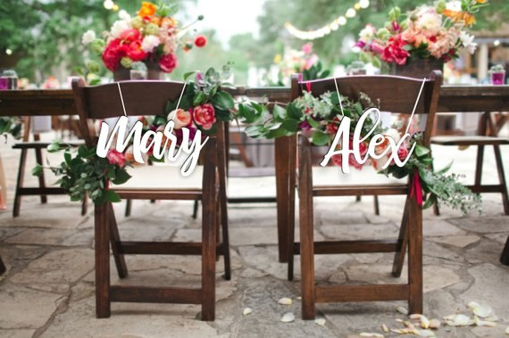 Personalized Wedding Wood Chair Signs -  200220143 - ShaadiMagic