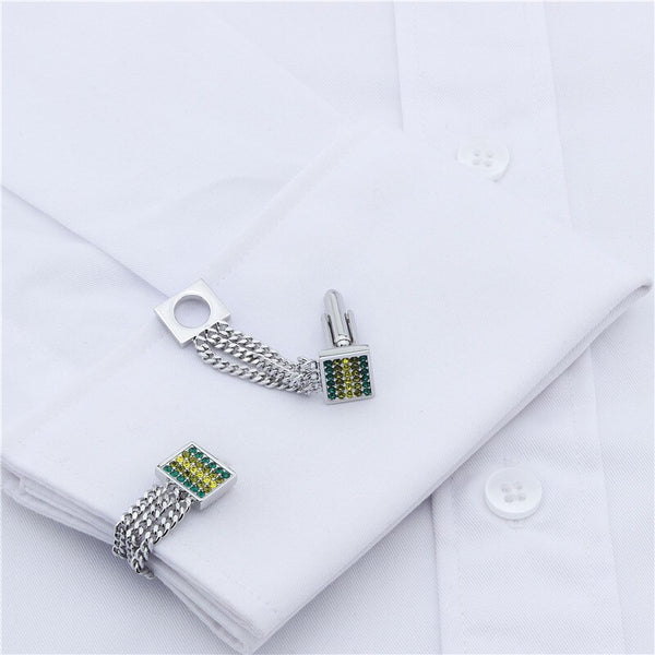 Classical Crystal Chain Cufflinks -  200000175 - ShaadiMagic