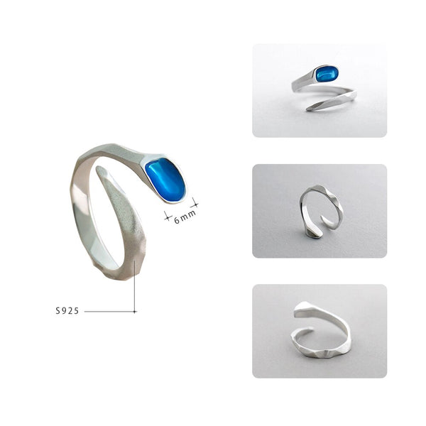 Blue Clear Edges Sterling Silver Engagement Ring -  200001701 - ShaadiMagic