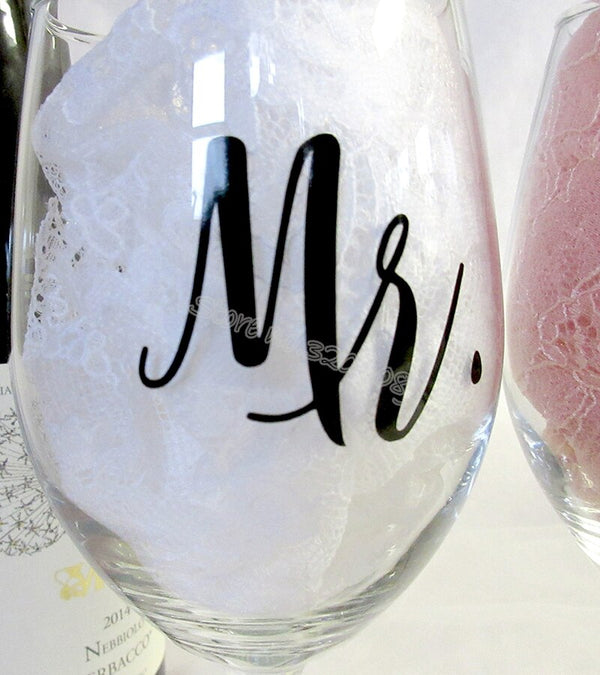 Mr and Mrs Wine Glass Stickers -  200001461 - ShaadiMagic