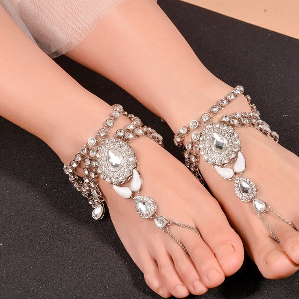 Barefoot Sandal Crystal Multilayer Anklet -  200000141 - ShaadiMagic