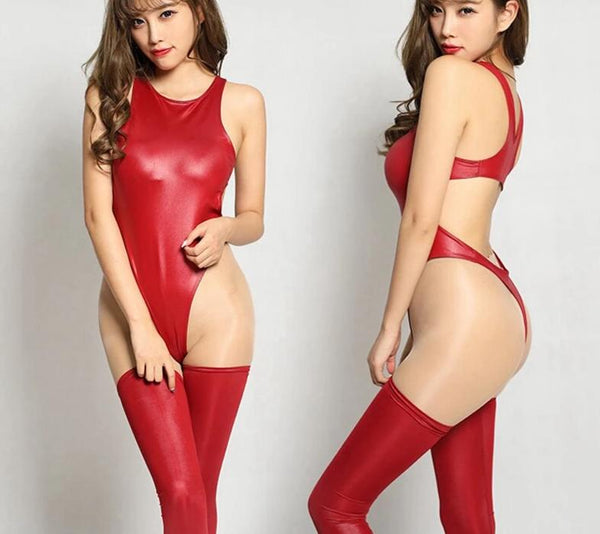 SAROSSY 2018 New Sexy Faux Leather Oil Shiny Bodysuit for Women High Elastic Backless High Cut Sexy Lingerie Multicolor Choice -  200001800 - ShaadiMagic