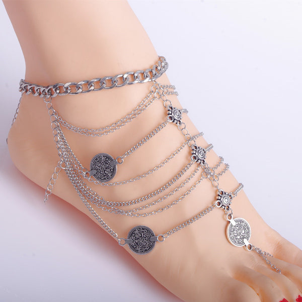Anklet Bracelet Multilayer Coin Tassel -  200000141 - ShaadiMagic