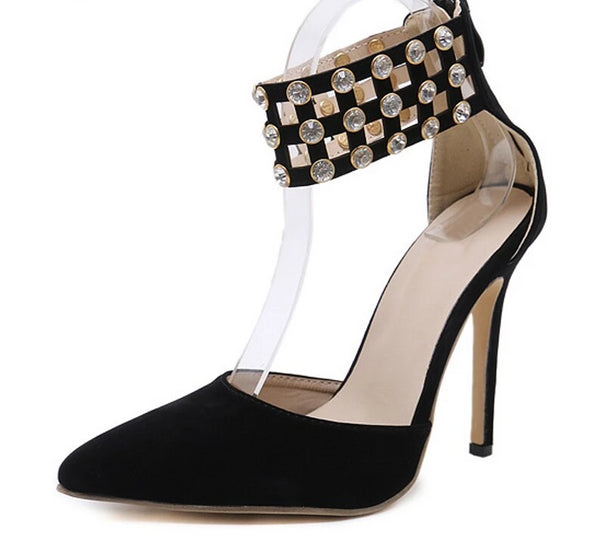 Crystal Fashionable Zipper Black High Heels -  200001012 - ShaadiMagic
