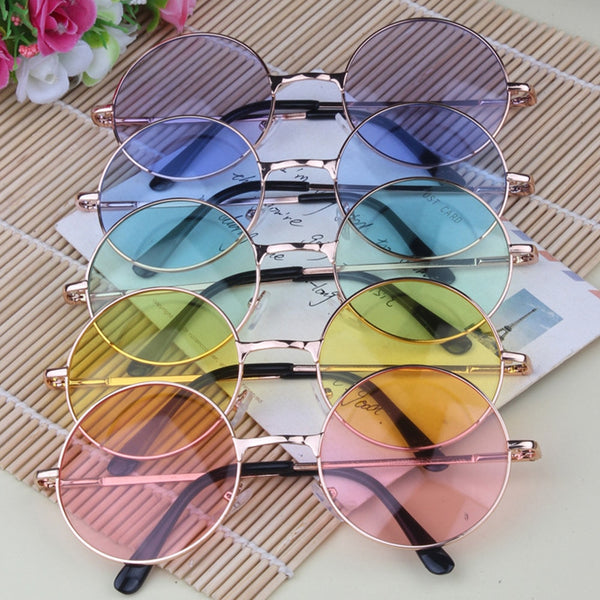 Multi-Color Round Hippie Sunglasses Golden Frame -  33902 - ShaadiMagic