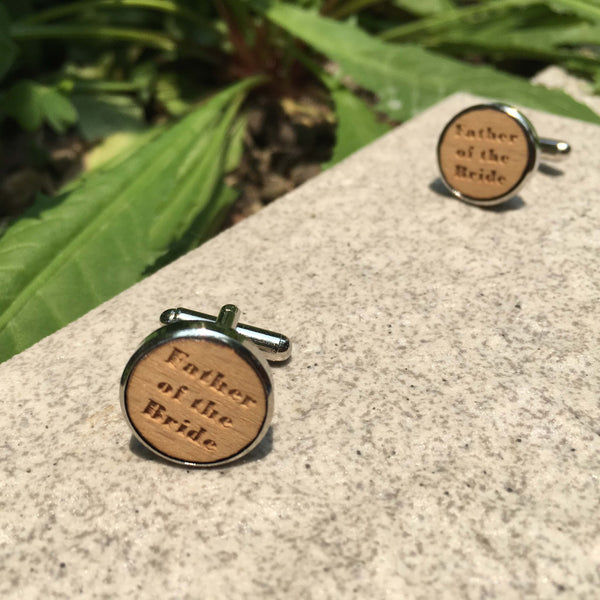 Father of The Bride Wooden Cufflinks -  200000175 - ShaadiMagic