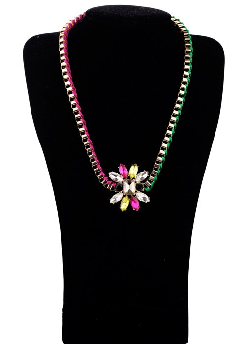 Color Block Braided Rope Short Necklace -  200000162 - ShaadiMagic