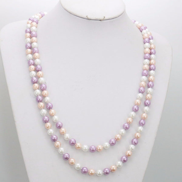Round Shell Pearl Freshwater Necklace -  200000162 - ShaadiMagic