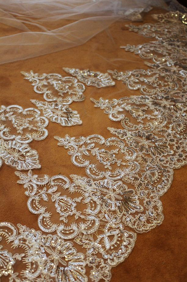 2 Tiers Shining Sequined Lace Bridal Veil -  32002 - ShaadiMagic