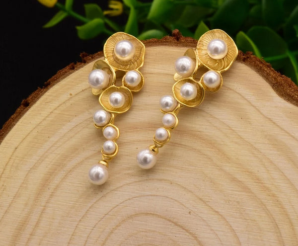 White Shell Pearl Drop Earrings -  200001692 - ShaadiMagic