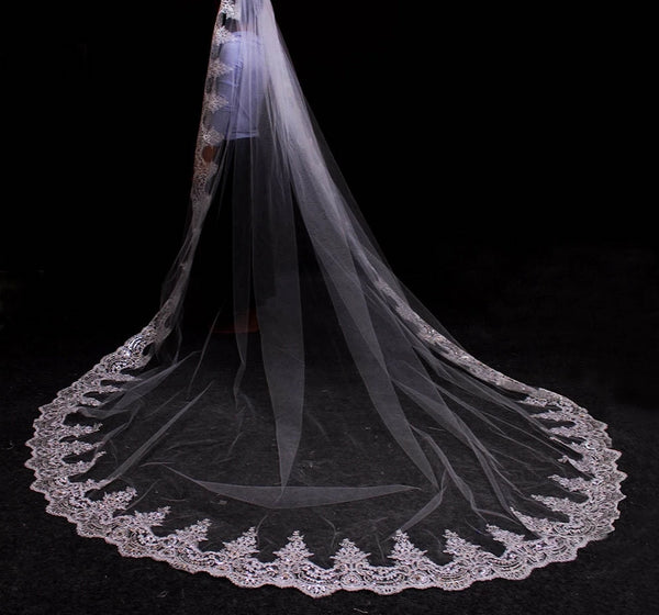Long Lace Edge 3 Meters Bridal Veil -  32002 - ShaadiMagic