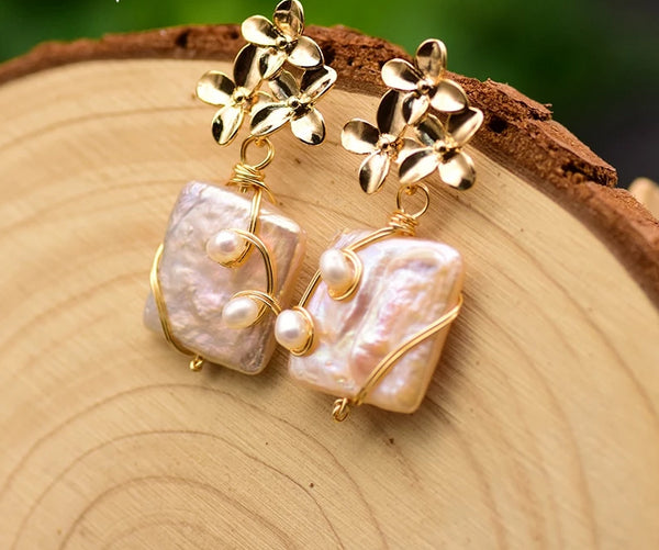 Flower Drop Baroque Square Pearl Earrings -  200001692 - ShaadiMagic