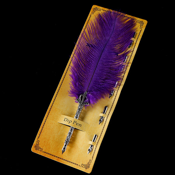 Ostrich Feather Quill Fountain Pen -  21110702 - ShaadiMagic