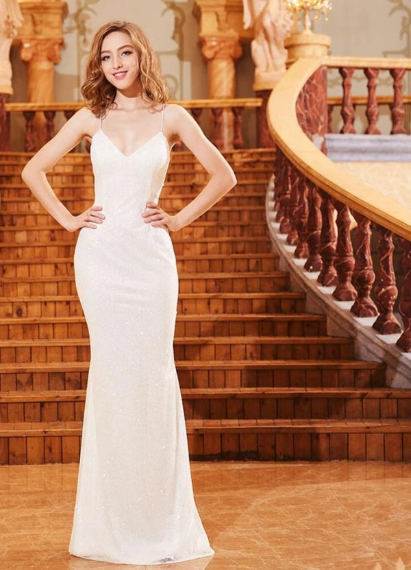 Simple Design White Formal Dress Elegant Sequined Luxury Sparkly Sexy Backless Long Mermaid Evening Dresses Real Photo OL103289 -  32004 - ShaadiMagic