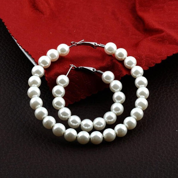 Pearl Hoop Earrings for Women -  200000170 - ShaadiMagic