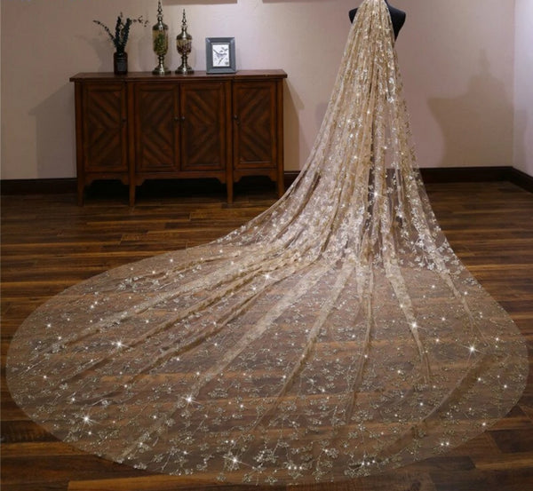 4m Gold Sequin Wedding Veil -  32002 - ShaadiMagic