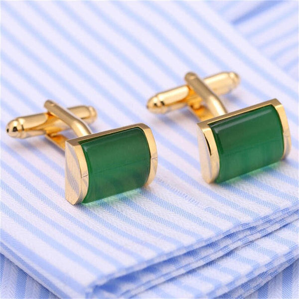 Green & Gold Imitation Crystal Cuff-links -  200000175 - ShaadiMagic