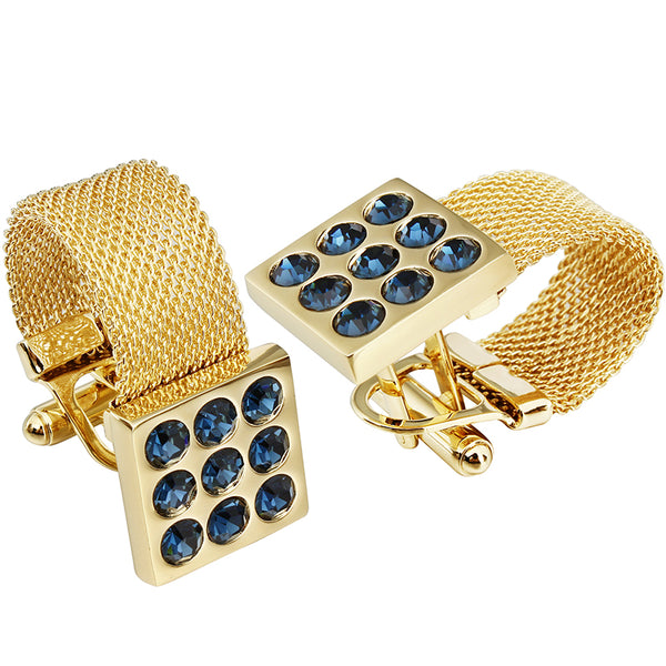 Onyx Stone Gold Chain Cufflinks -  200000175 - ShaadiMagic