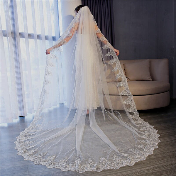 White Ivory Long Lace Bridal Veil -  32002 - ShaadiMagic