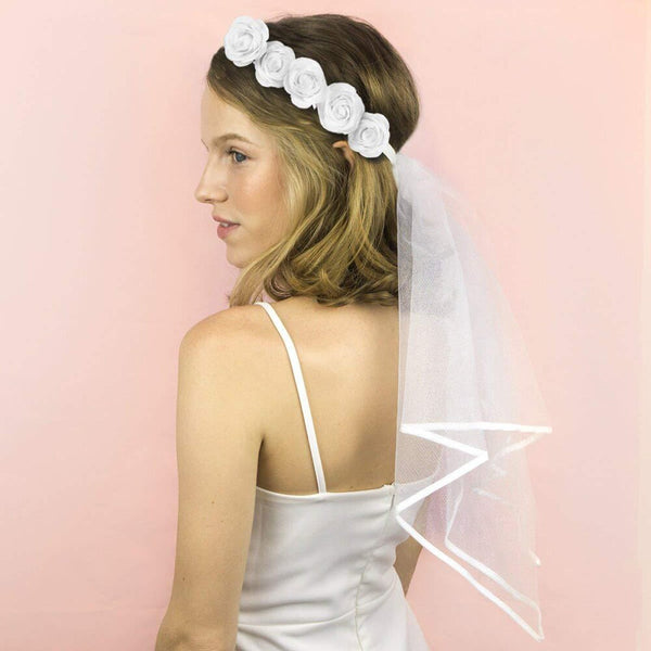 Rose Flower Crown and Bridal Veil -  200220143 - ShaadiMagic