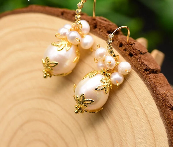 Natural Baroque White Pearl Drop Earrings -  200001692 - ShaadiMagic