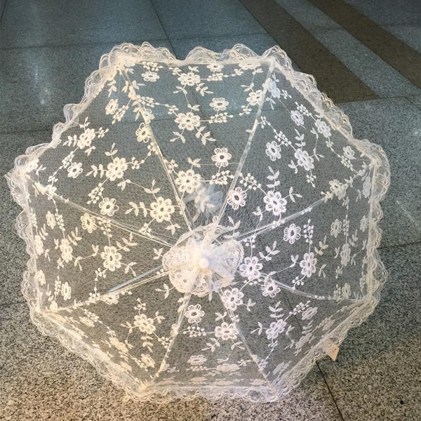 White Embroidery Handmade Bridal Lace Umbrella -  200000838 - ShaadiMagic