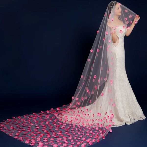 Rose Petal Bridal Veil -  32002 - ShaadiMagic