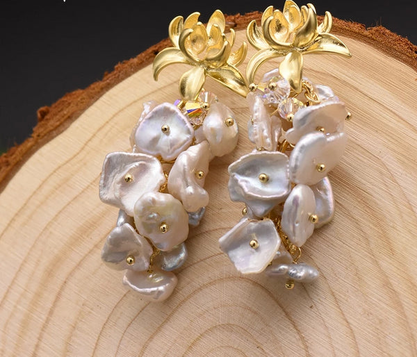 Pearl Dangle Flower Drop Earrings -  200001692 - ShaadiMagic