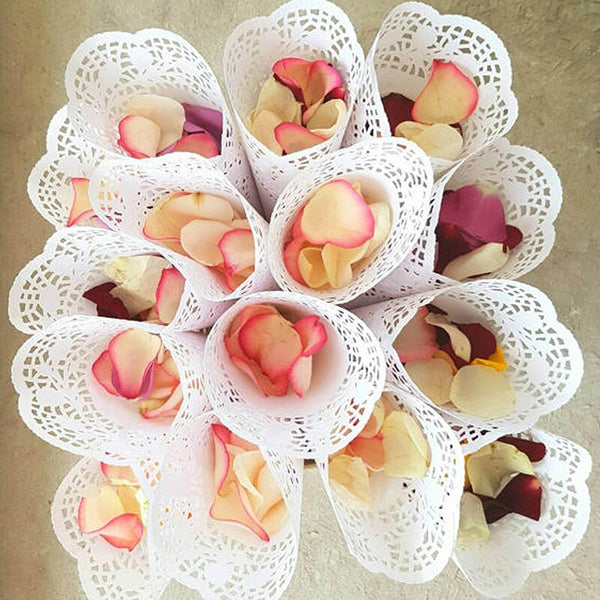 50 Pc. Confetti Cones Petal Candy Lace Favors -  200220143 - ShaadiMagic