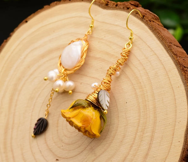 Natural Pearl Real Flower Handmade Dangle Luxury Earring -  200001692 - ShaadiMagic