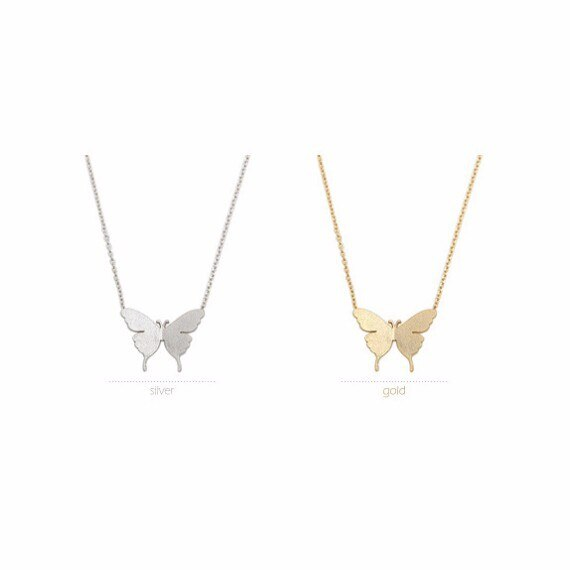 Butterfly Shape Pendant Necklace Long Chain -  200000162 - ShaadiMagic